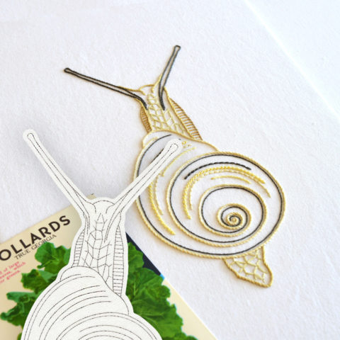 Anatomical Snail embroidery printed pattern by Kelly Fletcher