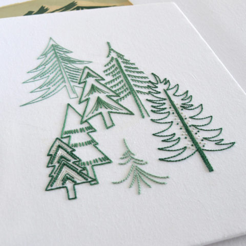 Pine Forest embroidery by Kelly Fletcher