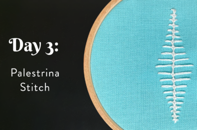 """A hoop showing a row of Palestrina knots stitched on aqua fabric next to the words, """"Day 3: Palestrina Stitch."""""""